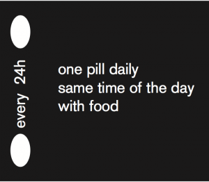 every 24h - one pill daily same time of the day with food