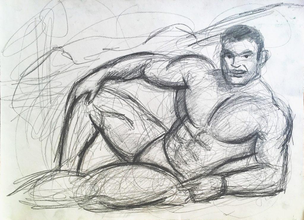 Drawing of a semi nude very male man by Murat Önen, Leipzig 2018